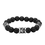 Men's Stainless Steel Skull Charm and Black Lava Beads Bracelet