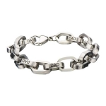 Men's Stainless Steel Rolo Link with Black Engraved DAD Bracelet