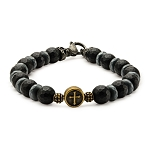 Black Beads in Cross and Skull Bracelet with Lobster Clasp