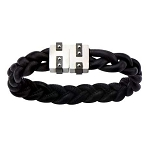 Men's Black Braided Leather Bracelet with Two Rone Matte Finished Magnetic Center Buckle