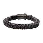 Brown Leather Binding Steel Matte Black Chain Bracelet