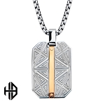Hollis Bahringer Rose Gold IP Bar Accent with Gray Steel Labyrintine Dog Tag Pendant with Chain
