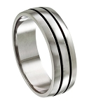 Stainless Steel Wedding Ring with Deep Lines