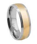 Men's Stainless Steel Wedding Band with Two-Tone Polished Finish | 7mm