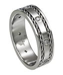 Stainless Steel Wedding Band with CZ's and Woven Edging