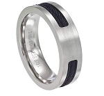 Men's Black Cable Stainless Steel Ring with Satin Finish | 7mm