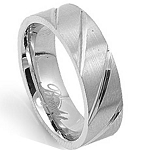 Men's Stainless Steel Wedding Band with Polished Diagonal Grooves | 7mm