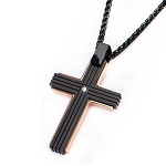 Stainless Steel Rose Gold IP and Black IP with Clear Gem Cross Pendant with Chain
