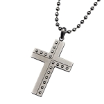 Stainless Steel Gun Metal Polish with Beaded Steel Cross Pendant with Chain