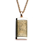 Chalcopyrite Dog Tag Pendant with Rose Gold IP Chain
