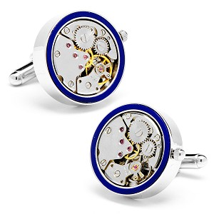 22mm Silver & Lapis Inlaid Watch Movement Cufflinks