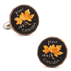 Hand Painted Canadian Penny Coin Cufflinks
