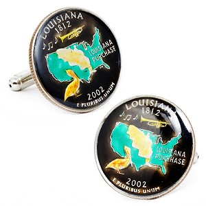 Hand Painted Louisiana State Quarter Cufflinks