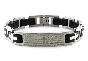 Stainless Steel Lord's Prayer ID Black Biker Bracelet 8.5""