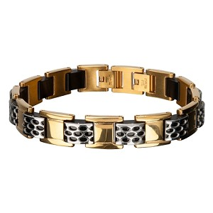 Men's Stainless Steel Gold IP Car Grille Polish Finished Bracelet I 8 inches
