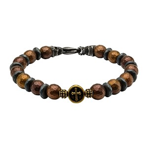 Brown and Black Beads in Cross and Skull Bracelet with Lobster Clasp