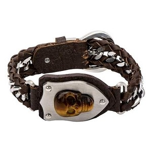 Men's Interwoven Steel Curb Chain and Brown Leather with Tiger Skull Bracelet