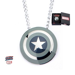 Stainless Steel Captain America Grey Shield Pendant with Chain