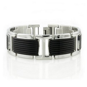 Men's stainless steel bracelet with Black IP| 15mm width