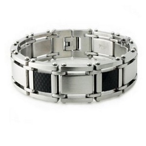 Men's stainless steel bracelet with carbon inlay| 16mm width
