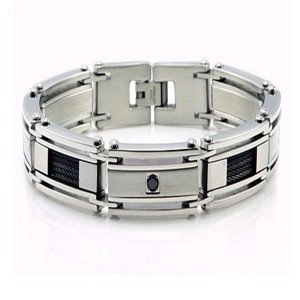 Stainless steel CZ bracelet for men | 12mm width