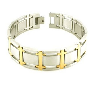 Stainless steel and gold finish bracelet for men | 13.5mm width