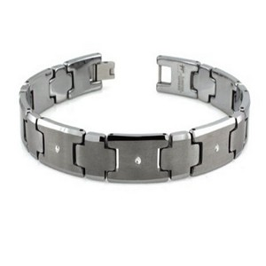 Men's tungsten bracelet with 3 set diamonds | 11mm width