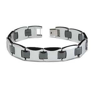 Men's tungsten ceramic bracelet with high polish | 10mm width