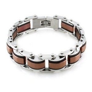 Mens Stainless Steel Bracelet High Polish Finish Black & Blue Accents