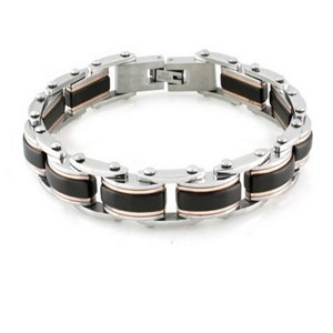 Mens Stainless Steel Bracelet High Polish Finish Black & Gold Accents