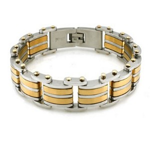 Mens Stainless Steel Bracelet High polish finish and gold accents