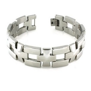 Mens Stainless Steel Bracelet High Polished Finish & Fold Over Clasp