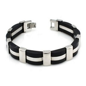 Stainless Steel Bracelet with Black & High Polished Links