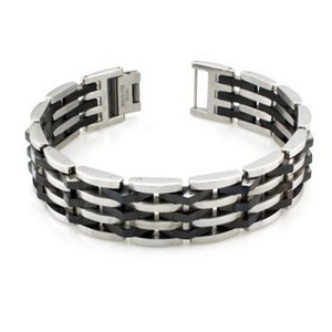 Mens Stainless Steel Bracelet with Black PVD Coated & Polished Links