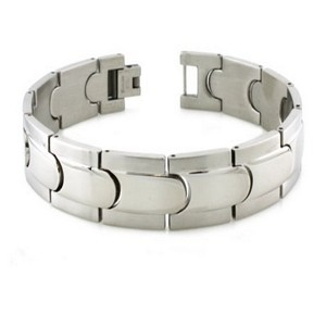 Mens Bracelet with Polished & Satin Finishes & Step-Down Edges