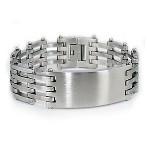 Mens Stainless Steel Bracelet High Polish with Center ID Link