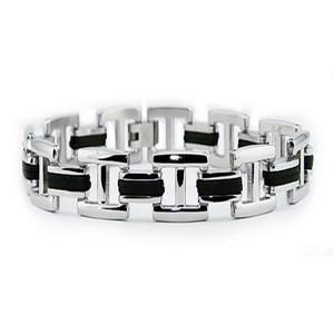 Mens Stainless Steel Bracelet Polished & Black Rubber Links