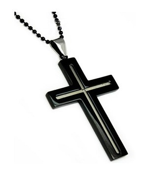 Men's stainless steel pendant with Black IP| 35mm width