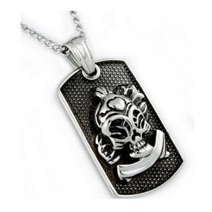 Men's stainless steel pendant with oxidized look| 25mm width