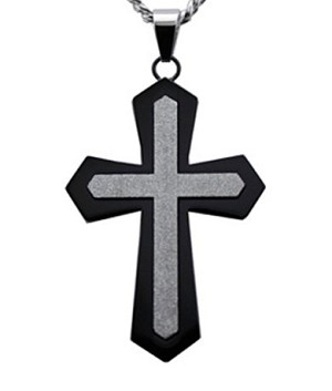"Mens Pendants with Black Cross & Sandstone Finished Center 24"" Chain"