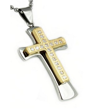 Pendants for Men with Gold Plated Cross & Cubic Zirconia Stones