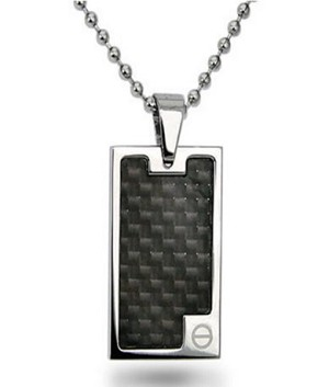"Pendants for Men High with Black Carbon Fiber Inlay 22"" Bead Chain"