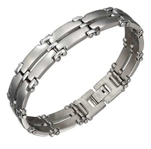 Mens Double Row Stainless Steel Bracelet