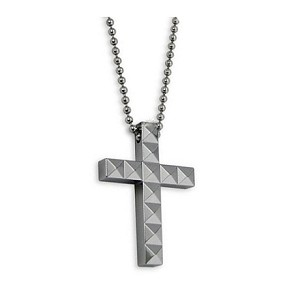 Tungsten mens cross necklace pendant aloadofball Choice Image