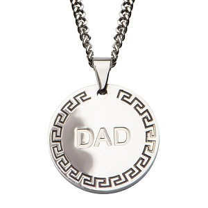 Men's Stainless Steel DAD with Greek Key Design Round Pendant with 24 inch Chain