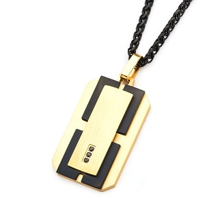 Stainless Steel Gold IP and Black IP with Black Gems Dog Tag Pendant with 24 inch Black Chain