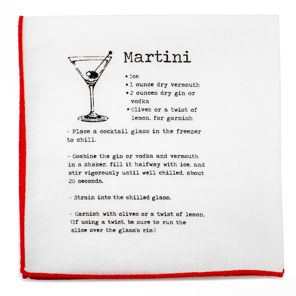 Martini Recipe Pocket Square