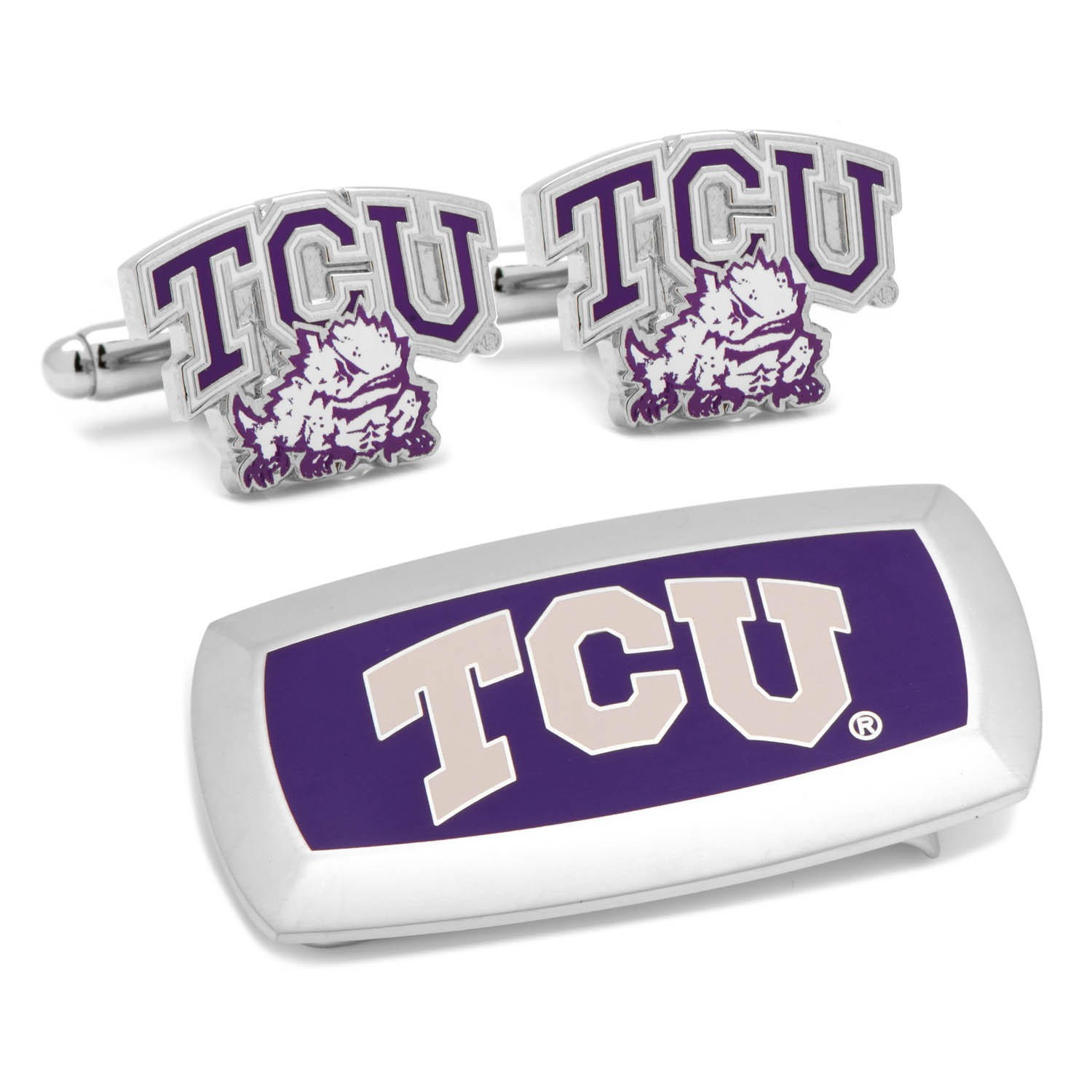 TCU Horned Frogs Cufflinks and Cushion Money Clip Gift Set